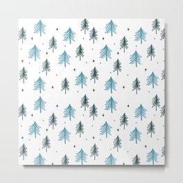 Minimal Christmas Tree Pattern Metal Print