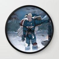warhammer Wall Clocks featuring Warhammer 40,000 Space Wolf Marine by Derek Boman