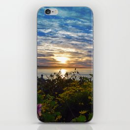 Ocean Photograph Sunrise with Flowers  iPhone Skin