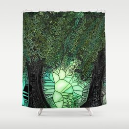Double Trees - Stain Glass Shower Curtain