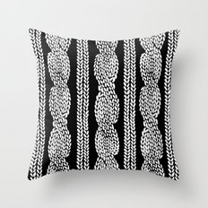 Cable Row Black Throw Pillow
