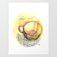 coffe Art Prints featuring coffe love by Olga Chekalkina