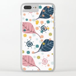 Sun and leaves pattern Clear iPhone Case