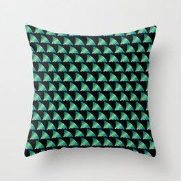 Green shark fin pattern Throw Pillow