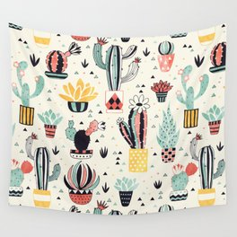 Cacti in a Flower Pot Wall Tapestry