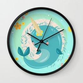 Pretty Princess Narwhal Wall Clock