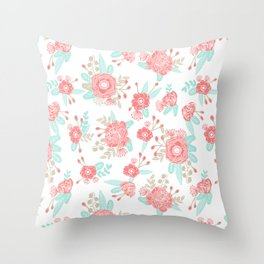 Girly Trend florals cute minimal modern painted flower bouquet colors of the year Throw Pillow