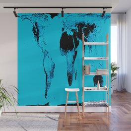 World Map : Gall Peters Blue Wall Mural