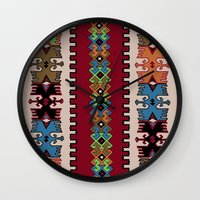 kilim Wall Clocks featuring Kilim pattern 026 by Ranka Stevic