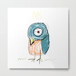 Stressed out Little King Bird  Metal Print