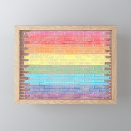 LGBTQ+ Pride Flag Distressed Brick Design Framed Mini Art Print