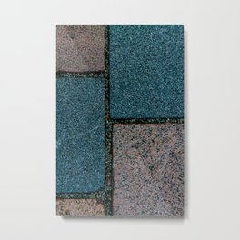 Blue and White Pavement Tiles Metal Print