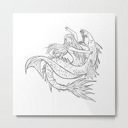 Mermaid Fighting a Sea Serpent Drawing Black and White Metal Print