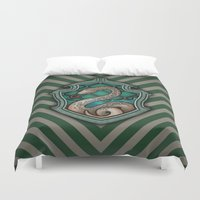 slytherin Duvet Covers featuring Hogwarts House Crest - Slytherin by Teo Hoble
