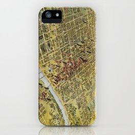 Vintage Pictorial Map of Waco Texas (1892) iPhone Case
