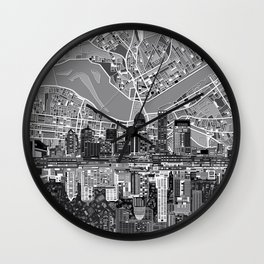 louisville city skyline 3 Wall Clock