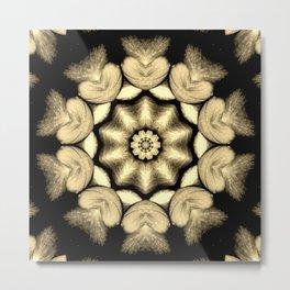 Beige Black Heart Mandala Kaleidoscope Pattern Metal Print