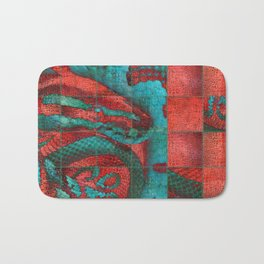 Abstract Red and Teal Snack on Leather Texture Bath Mat