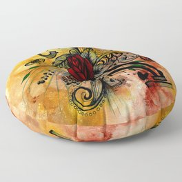 Abstract Acrylic Painting ROSE Floor Pillow