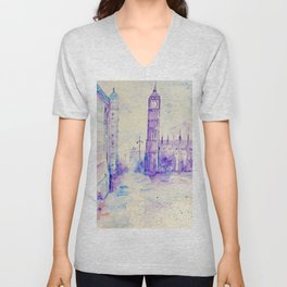 Watercolor London Landmark Big Ben Purple  Unisex V-Neck