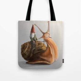 Gnome on Snail Tote Bag