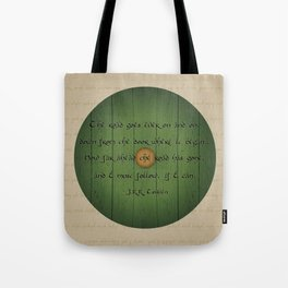 The Road Goes Ever On - Green Door Tote Bag