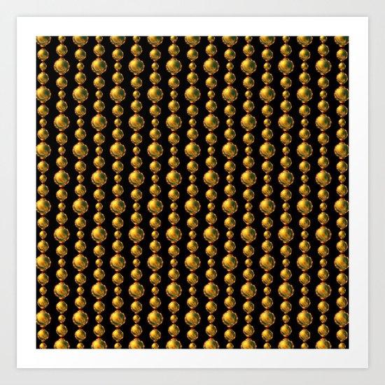 Bead Pattern, Gold & Black Art Print