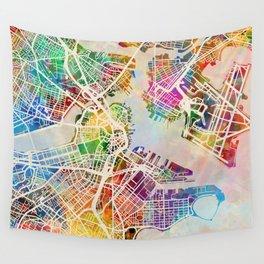 Boston Massachusetts Street Map Wall Tapestry