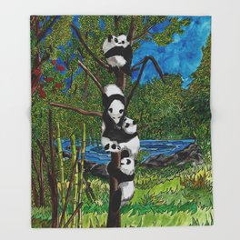 Six Baby Pandas in a Tree Throw Blanket