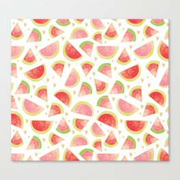 Pink & Gold Watermelon Slices Canvas Print