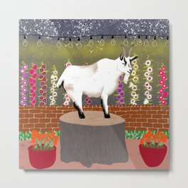 Goat in the Evening City Lights Metal Print