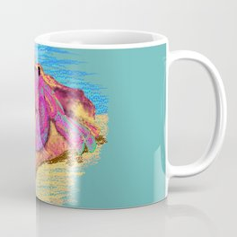 Colorful hermit crab in conch shell - Teal Coffee Mug