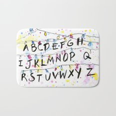 Stranger Things Alphabet Wall Christmas Lights Typography Bath Mat