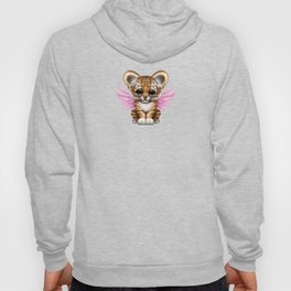 Cute Baby Tiger Cub with Fairy Wings on Pink Hoody