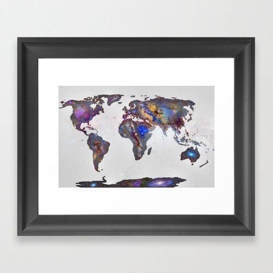 Stars world map Framed Art Print