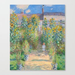 French Impressionist Landscape of Sunflower Farm by Claude Monet Canvas Print