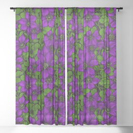 Purple Clematis vine Sheer Curtain