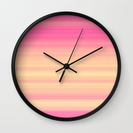 Pink Yellow Gradient Stripes Wall Clock