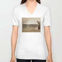 tennessee V-neck T-shirts featuring Tennessee Farm Vintage Barn by Phil Perkins