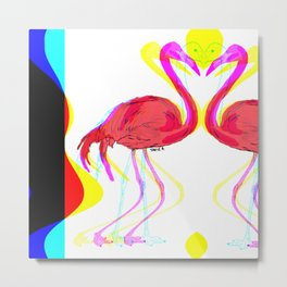 Fifi the pink Flamingo 3 / Surreal Metal Print