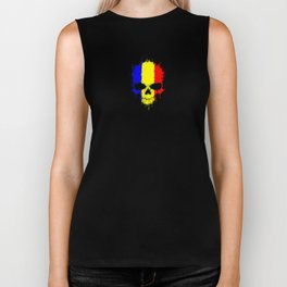 Flag of Romania on a Chaotic Splatter Skull Biker Tank