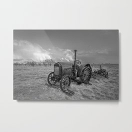 Rustic Tractor - Old Tractor in Black and White Metal Print