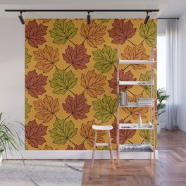Maple Leaves Pattern Wall Mural