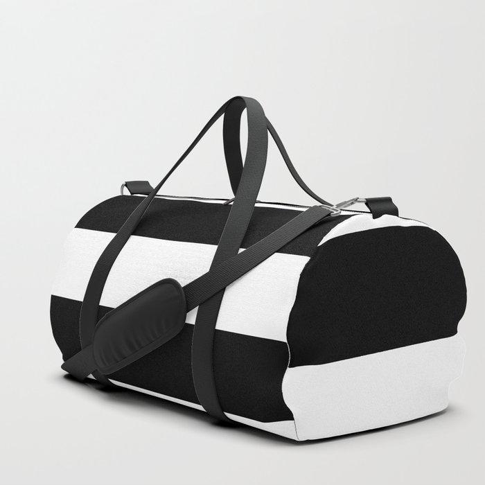 Black and White Large Stripes Duffle Bag