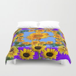 PURPLE YELLOW SUNFLOWERS STORY BOOK MODERN ART Duvet Cover