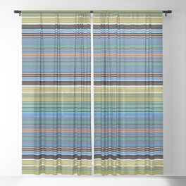 Bold Retro Color Stripes Sheer Curtain