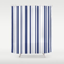 Minimalist Era - White & Indigo Blue Stripe Asymmetrical Shower Curtain