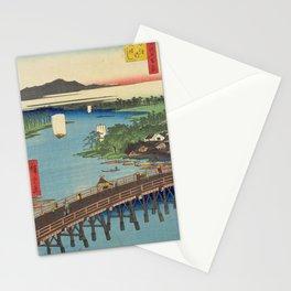 Big Bridge In Edo City. Ukiyoe Landscape Stationery Cards