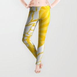 Bright Yellow, Summer, Pineapple Art Leggings