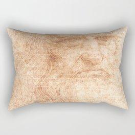 Brick Wall Painting Leonardo da Vinci by Leonardo da Vinci Urban Artist Rectangular Pillow